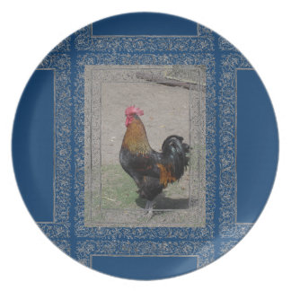 Farm Theme Rooster Plate/Blue Background