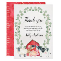 Farm Themed Baby Shower Thank You Card