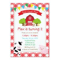 Farm themed birthday party invitation