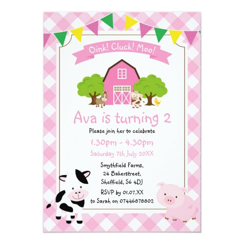 Farm themed birthday party invitation
