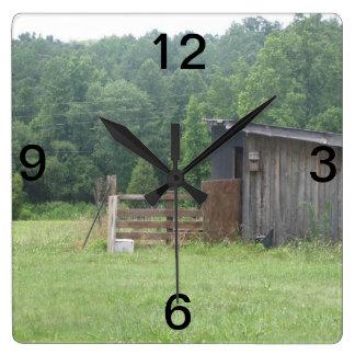 Farm Time Square Wallclock