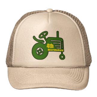 Farm Tractor 4th Birthday Gifts Trucker Hat