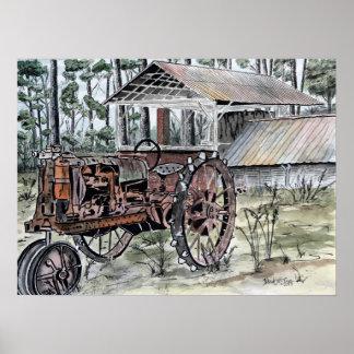 Farm tractor antique art print
