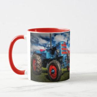 Farm Tractor Blue Red Farmer Rancher Gift Mug