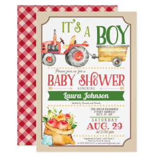 Farm Tractor Boy Baby Shower Invitation