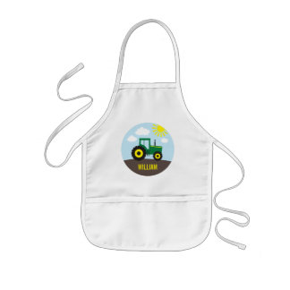 Farm Tractor Green and Yellow Kids' Apron