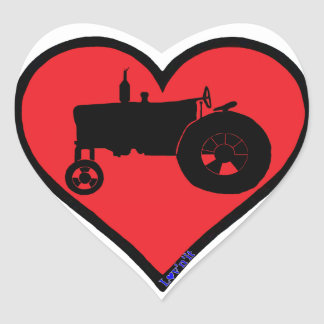 farm tractor heart sticker