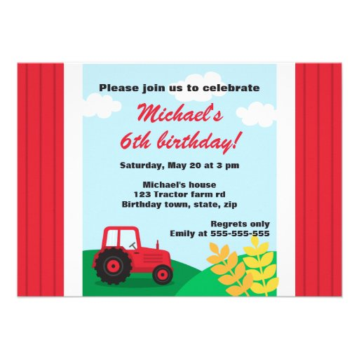 Farm tractor hills and wheat kids birthday party personalized invite