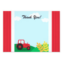 Farm tractor kids birthday party thank you card