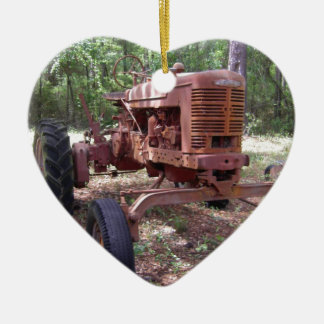 farm tractor picture ceramic ornament