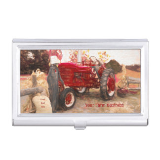 Farm Tractor Red Vintage Rustic Agriculture Business Card Case