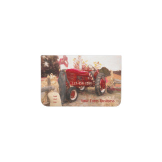 Farm Tractor Red Vintage Rustic Agriculture Card Holder