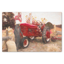 Farm Tractor Red Vintage Rustic Autumn Harvest Tissue Paper