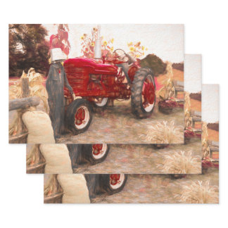 Farm Tractor Red Vintage Rustic Autumn Harvest Wrapping Paper Sheets