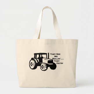 Farm Tractor Rollin' Large Tote Bag