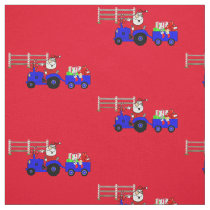 Farm Tractor Santa With Gift Trailer Fabric
