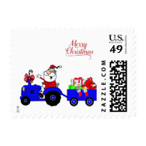 Farm Tractor Santa With Gift Trailer Postage