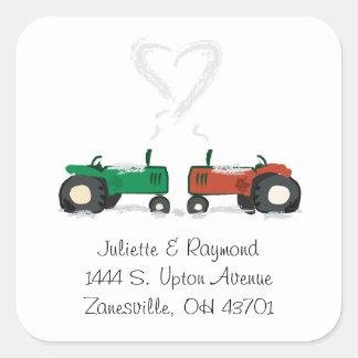 Farm Tractor Wedding Envelope Seal Square Sticker