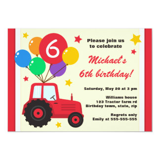 Farm tractor with balloons kids birthday party card