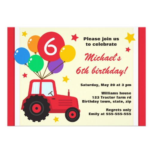 Farm tractor with balloons kids birthday party personalized invitations