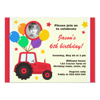 Farm tractor with balloons kids birthday photo card