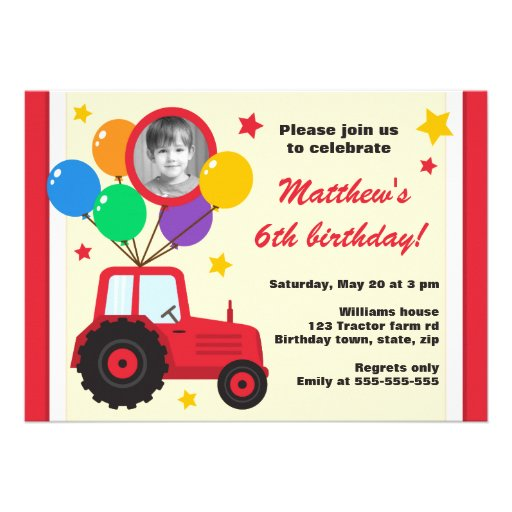 Farm tractor with balloons kids birthday photo personalized announcement
