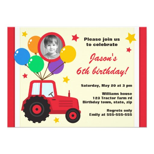 Farm tractor with balloons kids birthday photo invitation