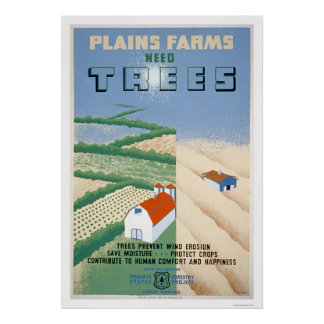 Farm Tree Conservation 1940 WPA Poster