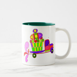 farm truck cartoon Two-Tone coffee mug