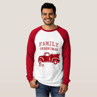Farm Truck Family Christmas with Date T-Shirt