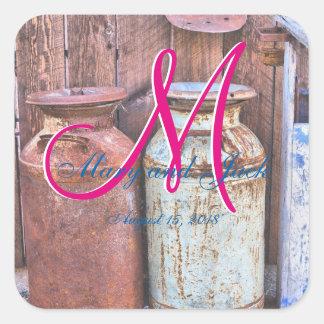 Farm Vintage Metal Milk Jugs Wedding Square Sticker