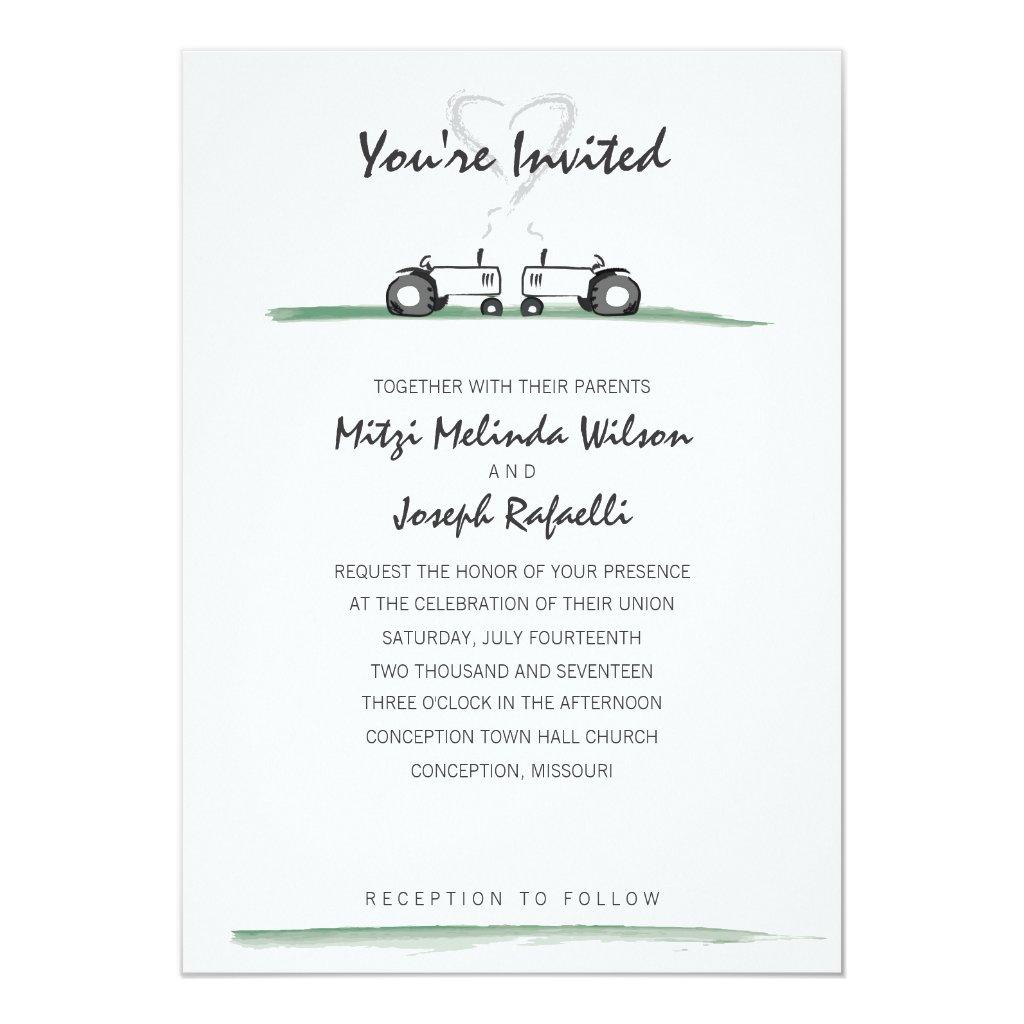 Farm Wedding Invitation -- Classic Style