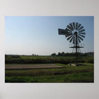 Farm Windmill Silhouette Photo Poster Art