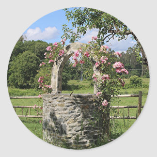 Farm wishing well and roses, Spain Classic Round Sticker