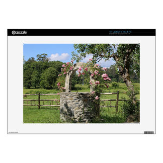 Farm wishing well and roses, Spain Decals For Laptops