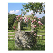 Farm wishing well and roses, Spain Letterhead