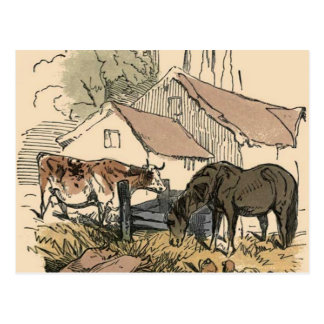Farm With Cow and Horse Postcard