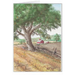 Farm with red barn greeting cards