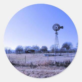Farm with Windmill Classic Round Sticker