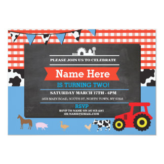Farm Yard Birthday Party Animal Pig Tractor Invite