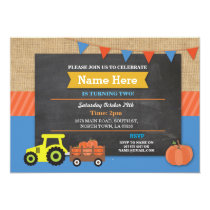 Farm Yard Birthday Party Pumpkin Tractor Invite