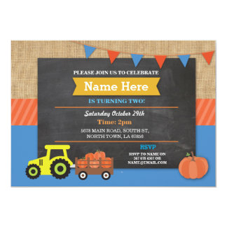 Farm Yard Birthday Party Pumpkin Tractor Invite