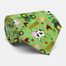 Farm yard cow and tractor neck tie