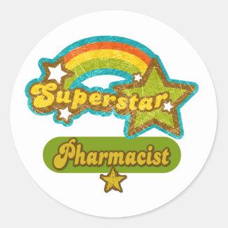 Farmacéutico de la superestrella pegatina redonda