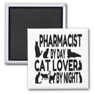 Farmacéutico del amante del gato imán cuadrado