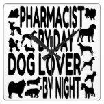 Farmacéutico del amante del perro reloj de pared