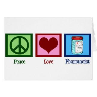Farmacéutico del amor de la paz tarjetón