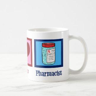 Farmacéutico del amor de la paz taza básica blanca