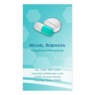 Farmacéutico - píldoras hexagonales elegantes tarjetas de visita