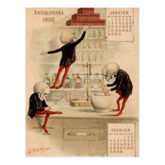 Farmacia esquelética tarjetas postales